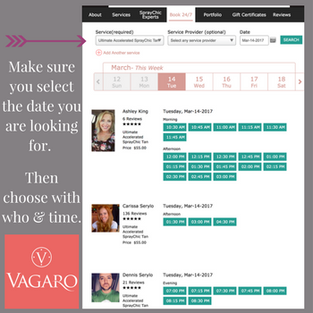 Booking online using Vagaro