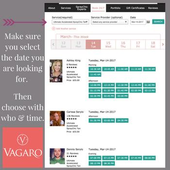 Booking online using Vagaro