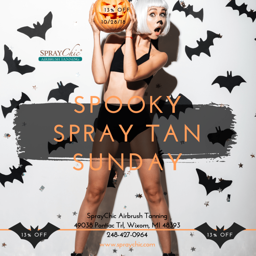 Receive 13% off on Sunday, October 28, 2018 at SprayChic Airbrush Tanning