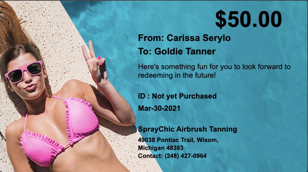 Pink bikini gift certificate